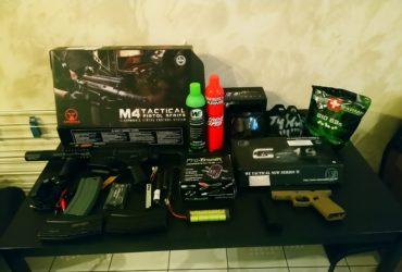Lot de deux répliques air-soft m4 tactical+ glock 19 + protection